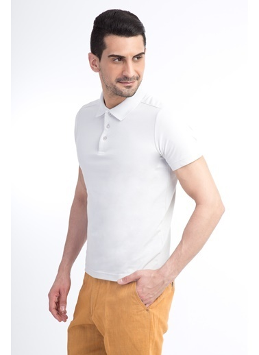 Kiğılı Polo Yaka Slim Fit Tişört Bej